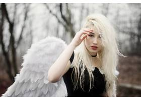 女人,模特,模特,妇女,女孩,白皙的,翅膀,深度,关于,领域,棕色,眼
