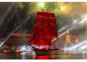 车辆,航行,船,船,烟火,河,圣人,彼得堡,俄罗斯,建筑物,夜晚,水,高图片
