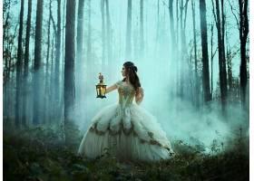 女人,角色扮演,妇女,女孩,森林,灯笼,白色,穿衣,烟,壁纸,
