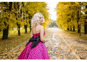 女人,模特,模特,妇女,女孩,白皙的,秋天,深度,关于,领域,公园,粉
