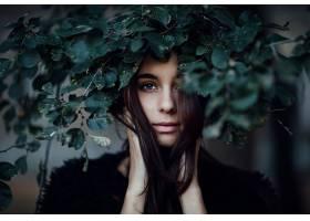 女人,模特,模特,妇女,女孩,黑发女人,脸,蓝色,眼睛,叶子,壁纸,