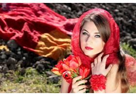 女人,模特,模特,情绪,妇女,花,郁金香,长的,头发,口红,围巾,红色,