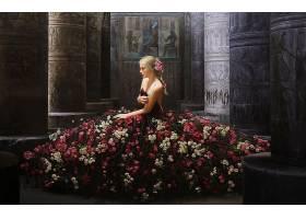 女人,模特,模特,穿衣,玫瑰,白皙的,妇女,壁纸,
