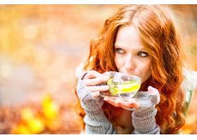 女人,情绪,妇女,模特,女孩,红发的人,绿色的,眼睛,茶,杯子,Bokeh,