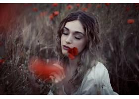 女人,情绪,妇女,模特,女孩,罂粟,红色,花,领域,小麦,夏天,黑发女