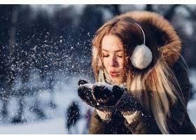 女人,情绪,妇女,模特,女孩,雪,口红,黑发女人,快活的,冬天的,壁纸