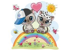 手绘彩虹上的卡通动物情侣矢量插画