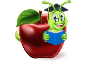创意可爱卡通苹果虫子形象插画设计图片