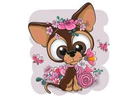 小狗卡通形象可爱矢量插画设计