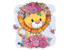 狮子卡通形象可爱矢量插画设计