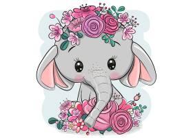 大象卡通形象可爱矢量插画设计
