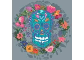 矢量骷髅与花朵设计
