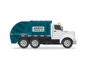 创意扁平化垃圾运送车网页插画矢量元素