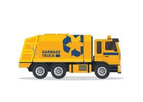 创意扁平化垃圾回收车网页插画矢量元素