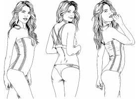 个性手绘时尚现代女性线稿插画