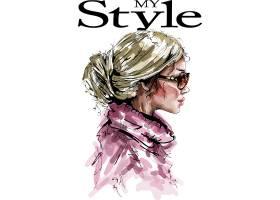个性手绘速涂时尚现代女性插画