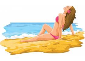 沙滩派对比基尼女性线条插画设计
