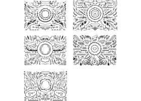 手绘植物花纹边框标签矢量元素图片