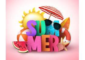 夏日个性英文标签矢量装饰元素