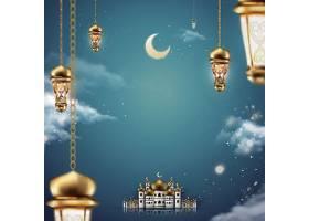 月亮灯饰建筑元素西方国家开斋节插画