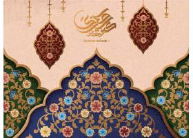创意花纹月亮灯饰西方国家开斋节插画