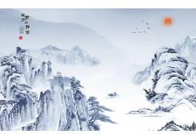 山峰水墨画