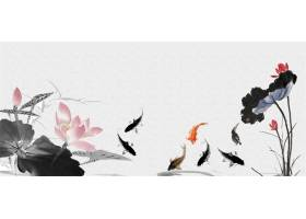池塘莲花鲤鱼中式传统古典底纹背景banner