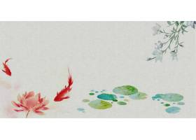 池塘中式传统古典底纹背景banner