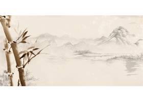 水墨竹子中式传统古典底纹背景banner