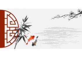 山水中式传统古典底纹背景banner