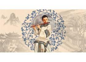 中式古典女性传统古典底纹背景banner