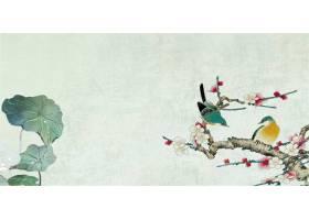 花鸟池塘中式传统古典底纹背景banner
