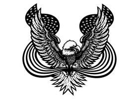 复古单色老鹰形象插画设计