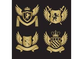 欧式金色创意盾牌徽章缎带图标LOGO设计