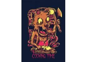 手绘狼猎手T恤图案设计