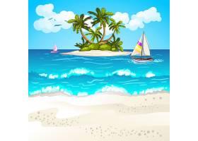 夏天海洋热带岛屿主题夏日装饰插画元素