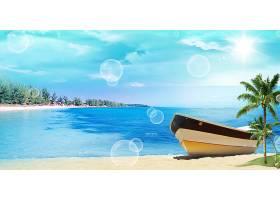 泡泡与海岸船风景背景