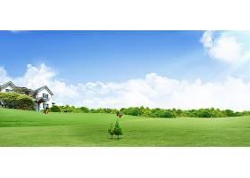 别墅草地风景背景