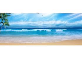 夏季海洋沙滩风景背景
