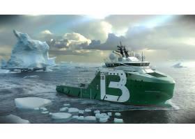 车辆,离岸的,支持,船,冰山,北极的,海,船,波旁威士忌,北极的,壁纸图片