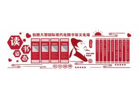 读书姿态创意校园文化墙通用模板