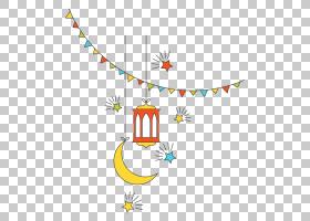 开斋节,Adha宗教,平伊斯兰文化新年装饰元素,新月和红灯PNG剪贴画