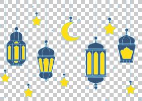 开斋节月亮星星,蓝色和黄色吊灯PNG剪贴画模板,蓝色,星星,穆巴拉