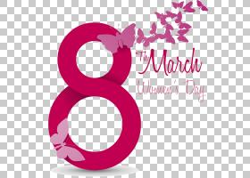 国际妇女节3月8日,第8天数字,红色和粉红色8月3日妇女节PNG剪贴画