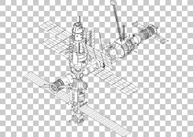 国际空间站Mir绘图航天器,空间站PNG剪贴画角,单色,火车站,外太空