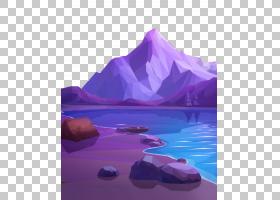 低聚艺术,高山湖泊PNG剪贴画紫色,紫罗兰色,摄影,风景,电脑壁纸,