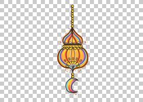 彩色手绘饰品开斋节,黄色,粉红色和黑色流苏装饰PNG剪贴画水彩画,