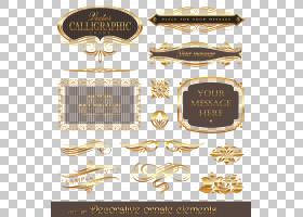 欧几里德金,金色图案框架,装饰华丽元素广告PNG剪贴画框架,化学元