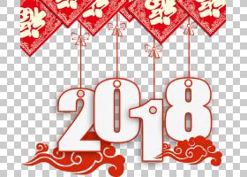 农历新年元旦农历新年海报,2018年新年装饰品装饰PSD,红色,蓝色和