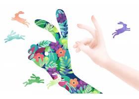清新手绘人物手部动作兔子形象插画海报